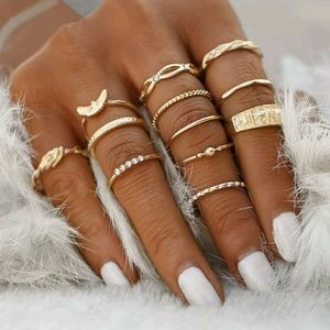 Jewelry - One Left! New Set of 12 Bohemian Hippie Gold Rings